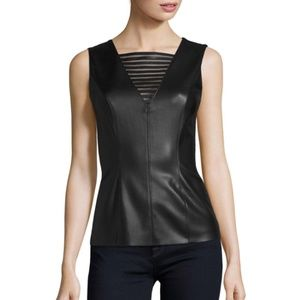 BAILEY 44 Vain Faux Leather-Front Top